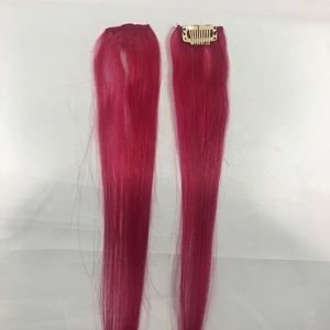 2 Piece Clip In Hair Extension Streaks Hot Pink